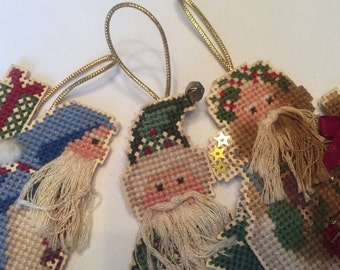 SANTA CHRISTMAS ORNAMENTS 3 hand Cross-stitched on paper / vintage style Santas / Sinterklaas / Father Christmas / Saint Nicolas D5