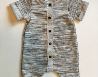 Grey French Terry Rolled Hem Summer Romper
