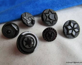 0160 – 6 Different Beautiful Celestial Star Black Glass Small Buttons-Boutons Verre