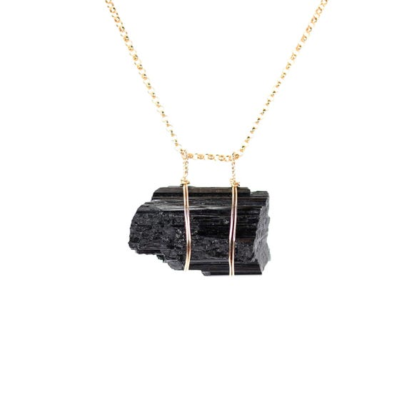 Black tourmaline necklace - raw tourmaline necklace - energy crystal necklace - healing crystal - raw tourmaline on a 14k gold filled chain