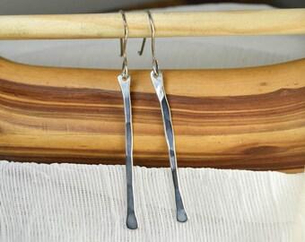 Minimalist Earrings Hammered Sterling Silver Drop Dangle Earrings, Simple Silver Earrings