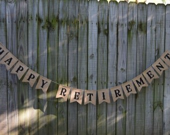 Custom Burlap Banner Happy Retirement Banner 10th, 20th,30th,50th Bunting Garlands Retirement burlap banner Happy Anniversary burlap