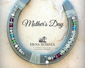 Mother's Day Horseshoe | Grandma | Mother's Day Grandma Multi Birthstone Horseshoe | Mother's Day Gift | Grandchild Birthstone Horseshoe