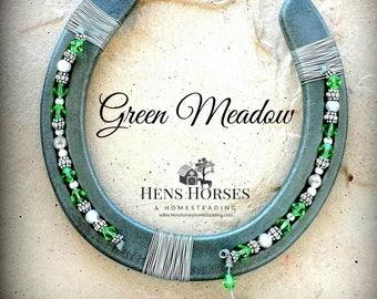 Horseshoe | Horseshoe Décor | Horse Décor | Green Meadow Swarovski Crystal Horseshoe | Lucky Horseshoe | Beaded Horseshoe | Horse Gifts