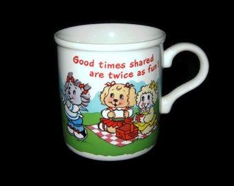 Vintage Get Along Gang Coffee Mug Cup Glass TV Show Series American Greetings Good Times Shared are Twice as Fun Japan Cartoon Character