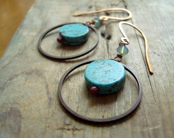 Copper and Turquoise Hoop Earrings - Aquarius. Boho Style Beachy Aqua Modern Jewelry Geometric December Birthstone Gifts Under 30