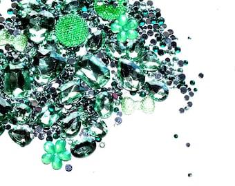 CandyCabsUK 50g Mixed Flatback & 3D Gems Rhinestones Jewels Green Ice DIY Kit