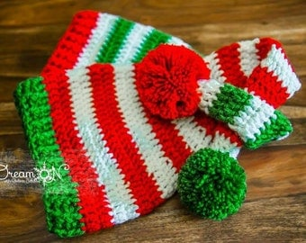 Christmas twins hats with pompom, striped long tail hats, boy girl twins hats, baby twin hats, twin baby gifts, winter hats, hats for twins