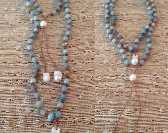 Amazonite, Baroque Pearls and Leather Necklace
