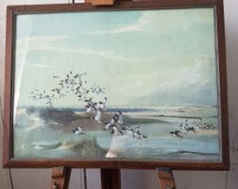 """Lovely Mid-Century 1960's Vernon Ward, Framed Print, """"Mallards in Flight Over an Estuary"""" in lovely cool natural grey's,greens  and blues..."""