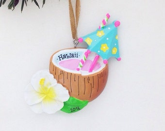 FREE SHIPPING Mai Tai Personalized Christmas Ornament / Tropical Drink Ornament / Hawaii / Tropical Vacation