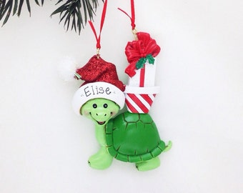 COMING SOON Ships Free Turtle Christmas Ornament - Turtle with Christmas Gifts  - Personalized Christmas Ornament - Custom Name or Message
