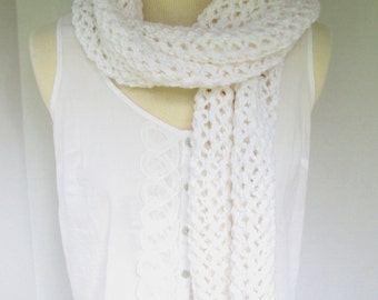 White Scarf,  Chunky Hand Knit Winter Scarf or Wrap 60 Inches Long
