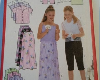 Butterick Fast & Easy 6038 sewing pattern Girls' shirt, camisole, skirt and pants in size 7, 8, 10