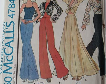 """Vintage 1975 McCall's Sewing Pattern 4784 Misses' top, halter and skirt in Size 12 (bust 34"""")"""