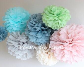 Set of 30 Small Pom Poms - Pompoms - Hanging poms - Paper flower - Tissue paper balls - Tissue paper pom poms - Tissue flowers