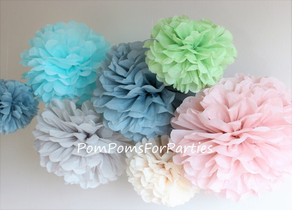 Set of small pom poms pompoms hanging paper