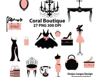 50% SALE Fashion boutique clipart set, coral, black, dress, shoes, mannequin, purse, chandelier, hat, bags, girl clipart, dress clipart,
