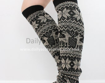 snowflakes womens leg warmers, reindeer leg warmers, leg warmers adult, boot socks, for girls, for women, Christmas Gifts, for her, for mom