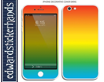 iPhone Decorative Cover Skin- Primary Rainbow OmbrePattern!