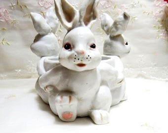 Vintage White Ceramic Bunnies // Candle Holder // Candy Dish // Vase // Centerpiece