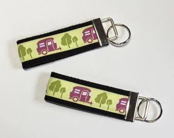 Camper Keyfob,  Camping Key chain, Camp keyfob, Going Camping, Pull behind Camper,  Fifth wheel camper, happy camper key fob, tiny house