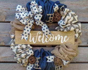 Navy Blue Chevron Burlap Welcome Wreath