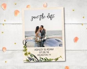 """Wedding Save The Date Magnets - Eloise Drive Greenary Leaves Photo Personalized 4.25""""x5.5"""""""