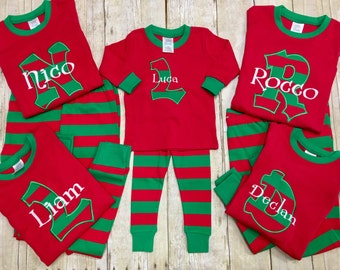 Personalized Christmas Pajamas/ Kids Christmas PJ's / Christmas Jammies/ Monogrammed Pajamas/ Holiday Pajamas/ Matching PJ's- size 12mo-yout