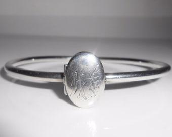 Sterling Silver Locket Bangle Bracelet With Mono