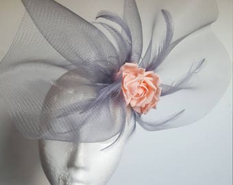 Gray Fascinator Hat with Roses and Feathers for Wedding,Ascot,Proms