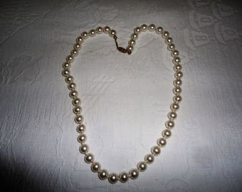 Vintage White Glass Pearl Necklace Gold Tone Hand Knotted Bridal Wedding Gift