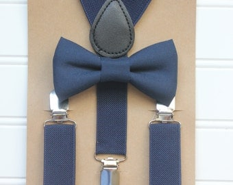 Bowtie and Suspenders Set/Navy Bowtie/Navy Suspenders/Baby and Toddler Bowties/Birthday and Wedding Sets