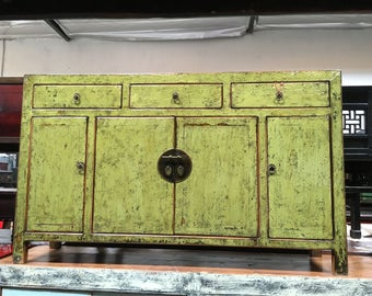 Antique Chinese Storage Credenza or Console in Lacquered Citrus Green (Los Angeles)