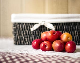 Plums and Basket Still Life Fine Art Photograph,  Country Kitchen Art, Farmhouse Kitchen Still Life Print or Canvas