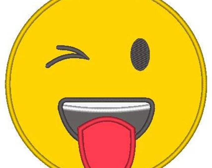 SAMPLE SALE, Tongue Sticking Out Emoji Embroidered Shirt - Emoji Birthday - Emoji Birthday Shirt - Emoji Party - Emoji Movie
