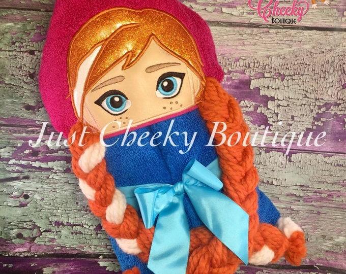 3D Ice Princess Inspired Hooded Towel - Anna - Frozen - Disney Birthday - Disney Princess