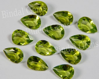 25 Pieces Natural Peridot Gemstone Shape Pear Faceted Cut