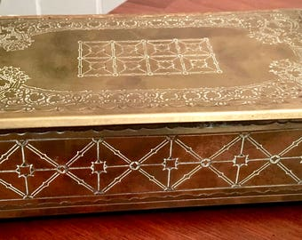 Collectible Vintage Brass Box with Wood Lining Ball Feet Gorgeous Detail with Lovely Mellow Patina