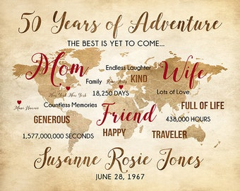 50th Birthday Gift for Mom, Wife, Friend, Personalized World Map, Adventure Map, Custom Bday Gifts for Mother, Mothers Day, Moms Day | WF569