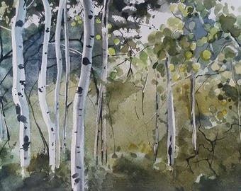 Trees, Nature Painting, Birch Trees, Forest Painting