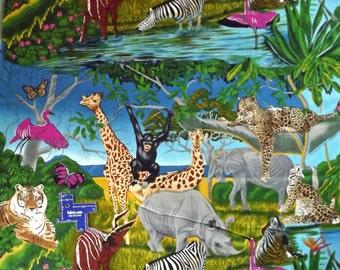 Cotton Fabric~Vibrant JUNGLE ANIMALS~Tiger Zebra Giraffe Elephant +~BTY~Shamash~Bright Colors