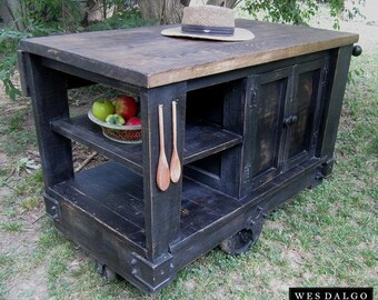 Distressed Black – Modern Rustic Kitchen Island Cart – with Walnut Stained Top