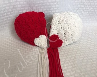 Valentines Twins Bonnets