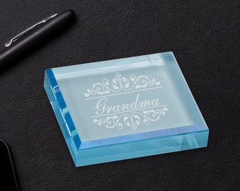 Personalized Blue Acrylic Paper Weight, Corporate Office Gifts, Promotion Gifts