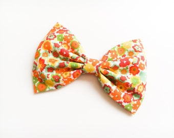 Yellow green mint orange floral bow