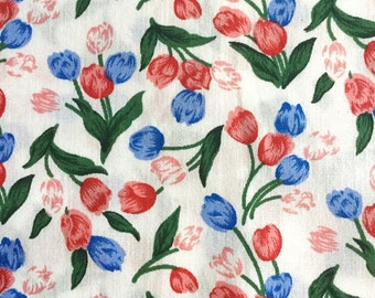 Scandinavian retro fabric floral vintage in gren with tulips. Made in Sweden, 60s