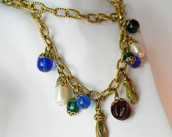 Vintage Poured Glass Necklace, Chanel Style Runway Statement Necklace, Vintage Jewelry Jewellery, Haute Couture Fashion