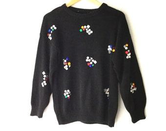 Vintage Bejeweled Rhinestone Studded 80s Sweater
