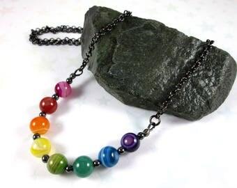 Rainbow Agate Necklace - Pride - LGBT - Rainbow Gradient - Gunmetal Chain